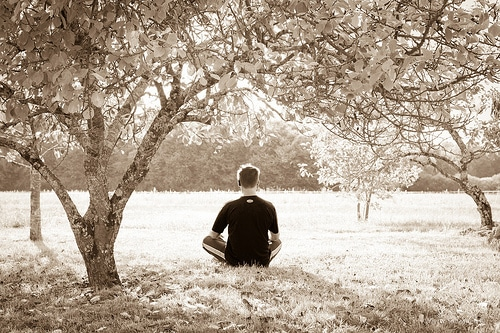 picture of a man meditating under a tree